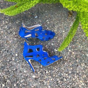 ZARA Do the Criss Cross Cobalt Blue Sandals Heels